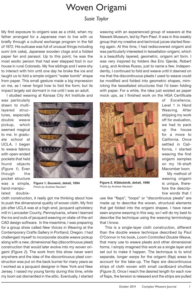 Complex Weavers Journal and Newsletter October 2013